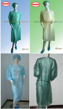 disposable long gown with elastic ,knitted cuff in green blue yellow white color for medical use
