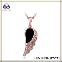 Fairy Wing With Rose Gold Plating And Zircon Pave Angel Wing Pendant Jewelry For Young Women