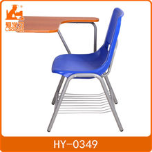 Lightweight plastic writing chair school with metal frame