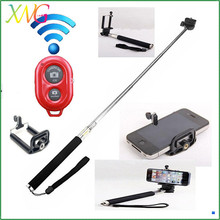extendable bluetooth wireless mobile phone wireless monopod selfie stick with remote shutter