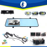2015 hot wireless type Dual camera Car DVR Video Recorder 4.3 inch TFT LCD Mirror Monitor shenzhen manufacturer windrunner