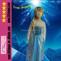 2015 New long Sleeve Cosplay Costume Elsa Princess Frozen Dress for kids girls