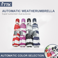 High quality sailors Navy Stripe seventy percent off umbrella all automatic folding anti UV umbrella factory direct sales