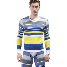 High quality cotton mens inner long sleeve t-shirt with colorful striped