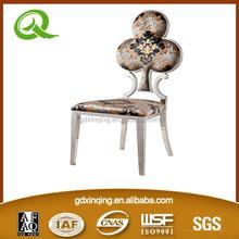 B355 classic design stainless steel frame flower fabric velvet dining chairs