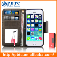 Set Screen Protector Stylus And Case For Iphone 5 , Red Wallet Leather Case