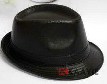 new custom men blank black leather trilby Fedora hat