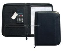 new black zippwe leather binder folder
