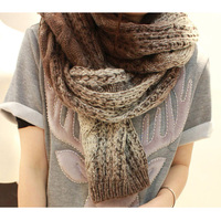 1pc fashion 5 color choice color gradual change design wool knit long thick wool scarf made in china