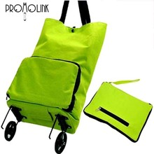 fashion nylon oxford custom logo foldable shopping bag with wheels
