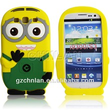 Silicon mobile phone protect case for Samsung Galaxy S3 despicable me design