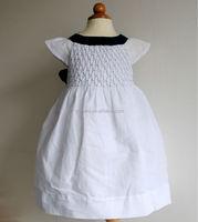 Hot sales sleeveless cotton linen navy bow smocked girl's dress