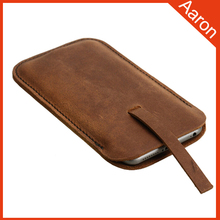 best sell top grain leather cell phone pouch for iphone 6 plus case