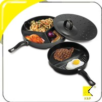 tri pan magic compartment non stick pan divider for frying pan