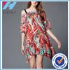 High fashion above knee bohemia dresses with printing shoulder-straps chiffon dress/skirt