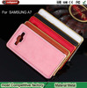 2015 Christmas Gift Mobile phone case Metal bumper with leather back cover for samsung A3,A5,A7