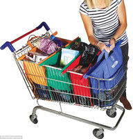 Supermarket Shopping Shallow Trolley Size Bags -Set of 4 folding easy carry bags
