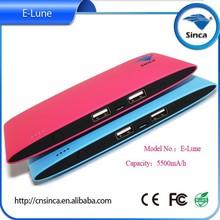 Sinca E-lune rohs power bank charger new design,5500mah lipstick battery charger portable power bank