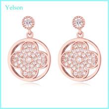 New arrival fashion stud earrings, wholesale round shaped earrings with AAA zircon