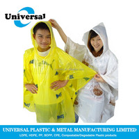 Durable disposable rain poncho for water park