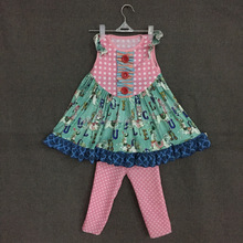 wholesale children boutique clothing a carousel pritting dot ruffle pants girls boutique clothing