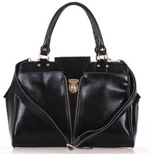 2012 new! Black real leather tote or shoulder bag for women