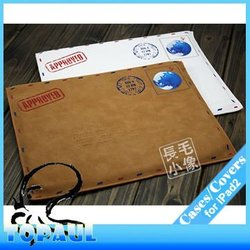 Classic brown and white leather skin,retro bag for ipad,tablet leather pouch