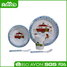 5pcs food health children dinner sets, cars & animals printed non breakable kids kitchen tableware