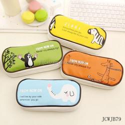 Korean Cute PU Leather Large Pencil Case Cartoon Stationery Bags