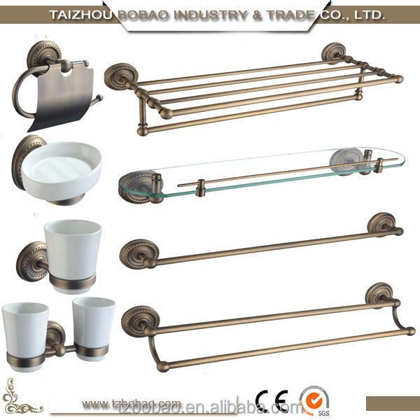 Wonderful European 7 Pcs Brass Bath Hardware Sets Vintage Bathroom Accessories