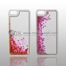 Transparent Glitter Quicksand and Heart Liquid Back Case for iPhone 5s
