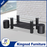 modern glass pu leather coffee table sets antique glass top wood base coffee table