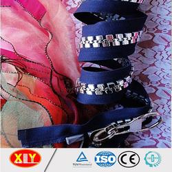 fashion garments zipper , blue tape big silver teeth plastic zipper