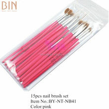 15 pcs Pink Nail Art Tools Paint Dot Draw Pen Brush Set