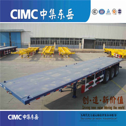 Towing truck flat bed 40ft container transport trailer, 60tons high bed trailer for sale
