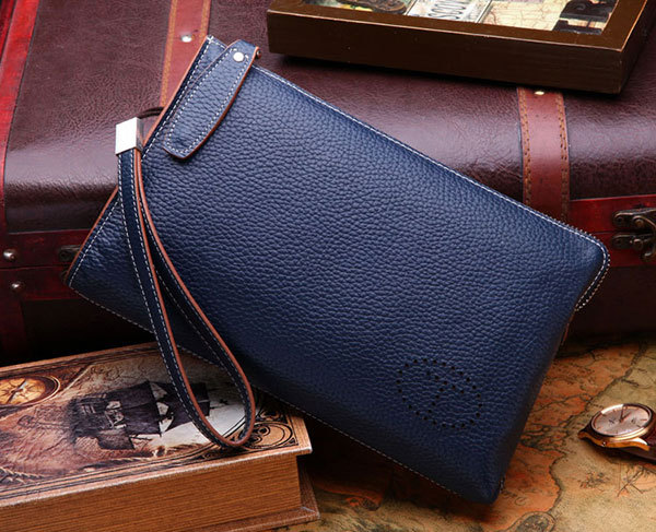 2014 Men's Wrist Strap Cowhide Leather Fashion Clutch Bag