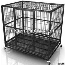 Black Metal Wire Dog Cage With Wheels