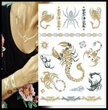 Silver & Gold tatouages tatouage temporaire pour femme beauté Metal Texture Flash Tattoo autocollants pour Body Paint