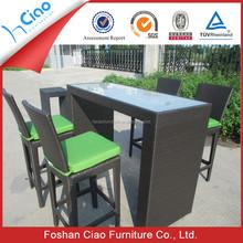 Modern design High rattan outdoor furniture wicker bar set bar table and chair