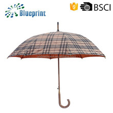fashion wooden shaft double layer ladies' wooden curve handle straight umbrella