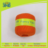 Oeko-Tex branded stock lots cheap factory price fair trade yarn acrylic ribbon yarn for machine knitting
