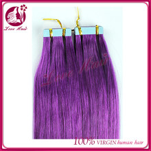 Thick Ends! low price skin weft hair brazilian darling tape hair extension make hair purple naturally