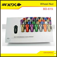 Tapered Bottoms Universal Aluminum Wheel Lug Nuts, Hex Socket, Anodize color
