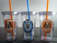 16oz Eco-friendly double wall plastic glass with straw and lid