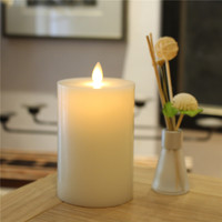 Table Centerpiece Moving Wick Fat Top White Pillar Votive LED Flameless Flickering Candle with Remote and Timer