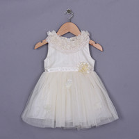 2015 Summer New Infant Dress Grace Lace White Dress With Floral Decorated Kids Vest Dress Children Wear Free Shipping GD50404-7