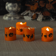 Halloween Decor&Gift Yellow Flickering Flameless LED Tea Light Candles With Halloween Series Pattern Printed
