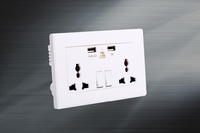 Universal electronics components 146 socket with switches two gang 2 usb