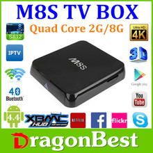 XBMC/KODI14.2 Android 4.4 Amlogic S812 M8S Tv Box Support H.265 2.0GHz Quad Core streaming box