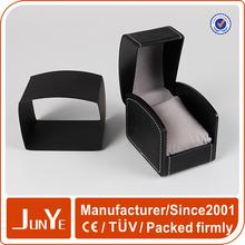 luxury fashion black sewing pu leather wood unique watch box